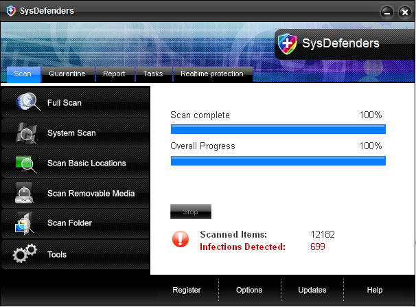 SysDefenders - rogue antispyware