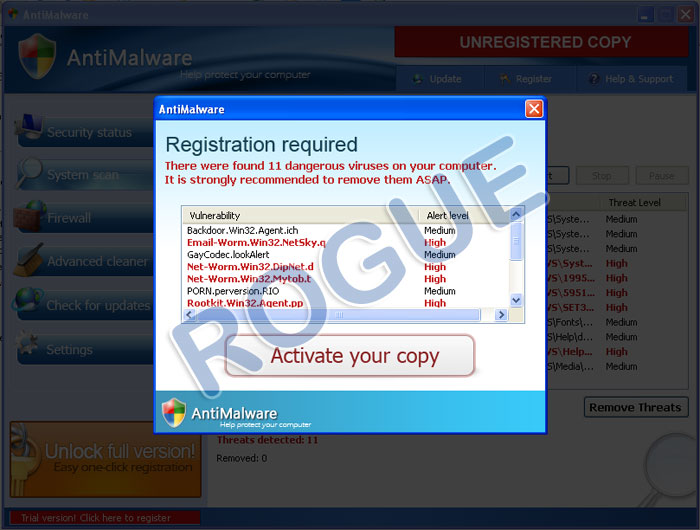 Rogue AntiMalware Antivirus - Fake Alerts