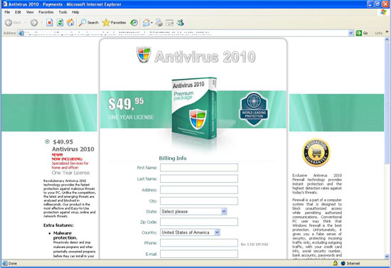 Antivirus 2010 Security Centre Payment Window