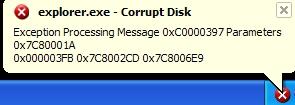 Explorer.exe - corrupt disk