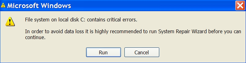 File system on local disk C contains critical errors