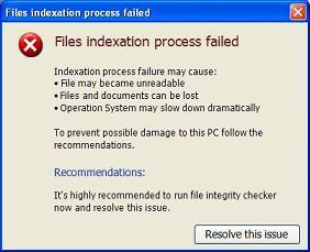 Files Indexation Process Failed