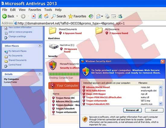 Microsoft Antivirus 2013 fake scan
