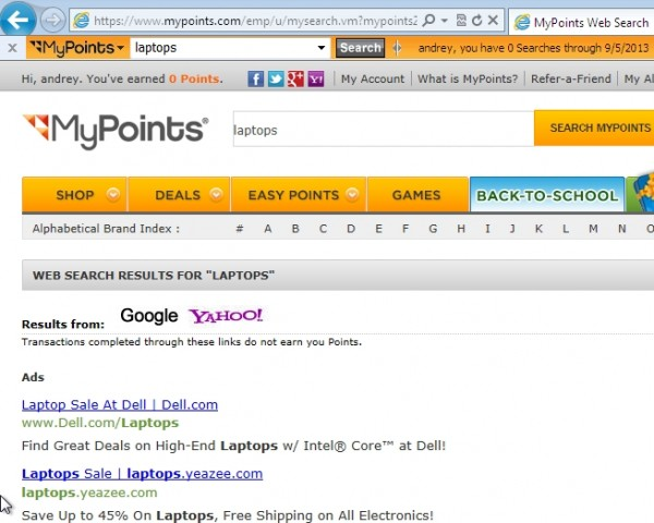 Mypoints.com adware