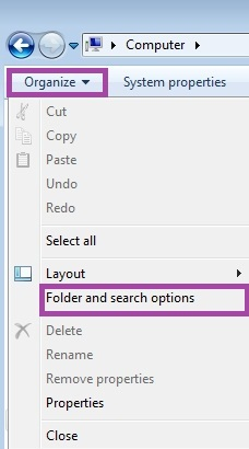 Folder and search option in Windows Vista/7