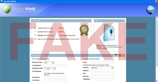 Security Shield fake payment processing page