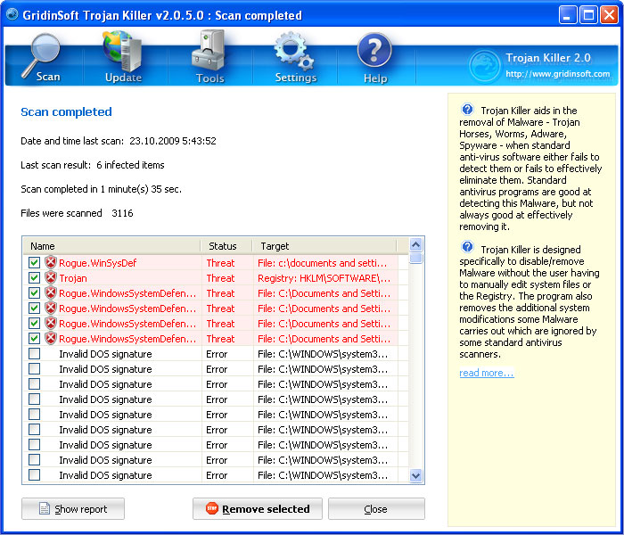 Trojan Killer detected rogue WindowsSystemDefender antivirus