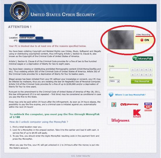 Webcam hacked by virus