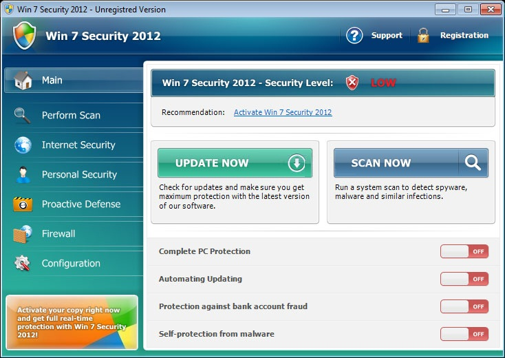 Win 7 Security 2012 scam