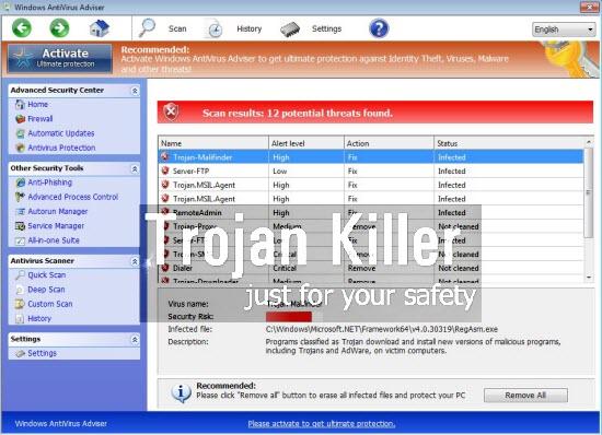 Windows Antivirus neuvonantaja
