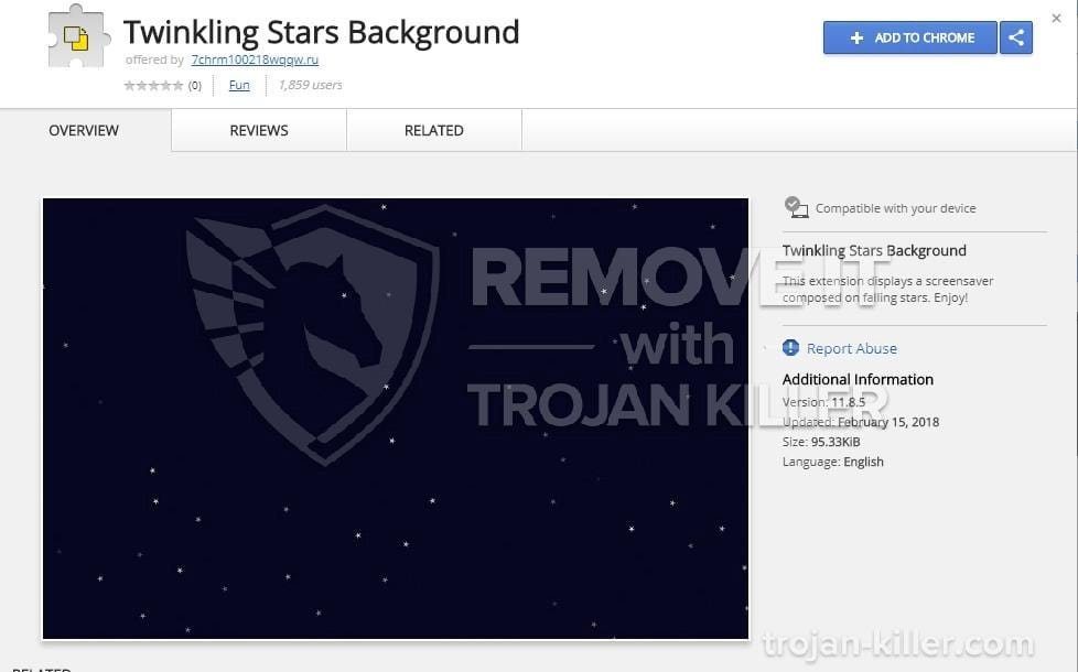 Twinkling Stars Background chrome extension