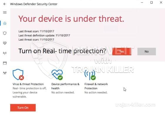 """Your Device is Under Threat"" virus"