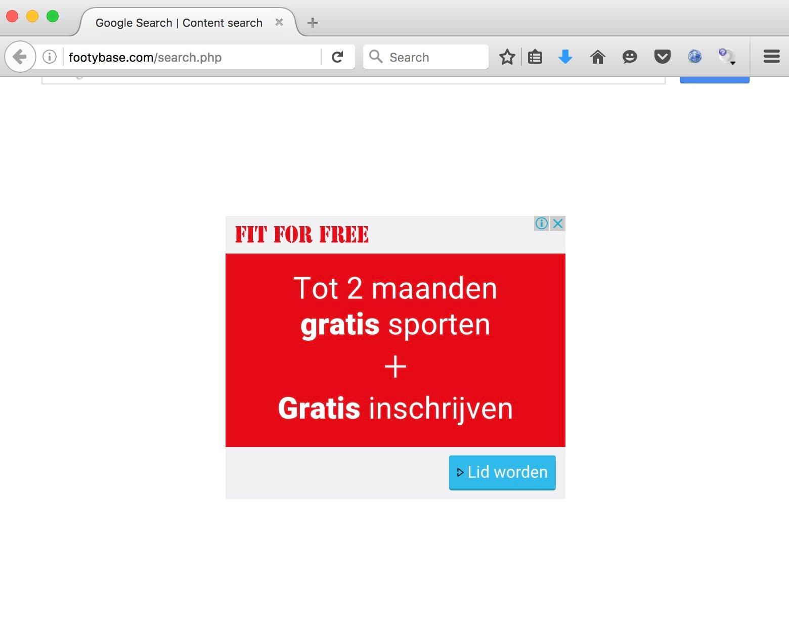 Footybase.com browser hijacker