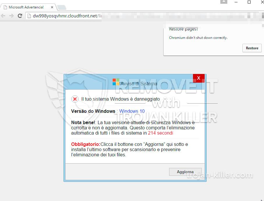 Il tuo sistema Windows è danneggiato virus