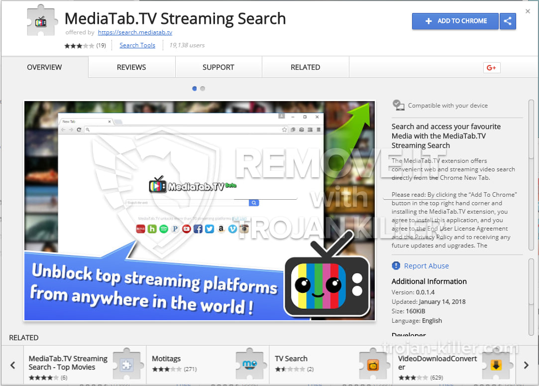 MediaTab.TV Streaming Search virus