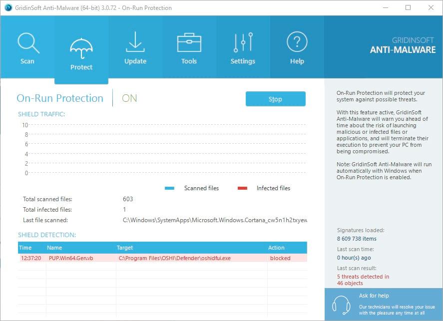 GridinSoft Anti-Malware protection