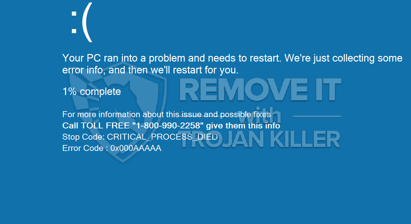 Your PC ran into a problem and needs to restart virus