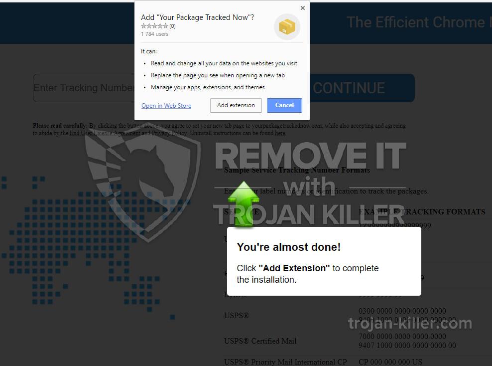 yourpackagetrackednow.com virus